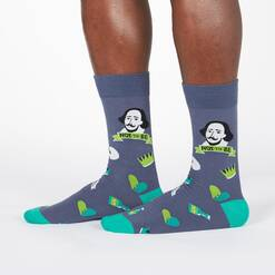 model wearing To Be, or Not to Be - Shakespeare Thespian Crew Socks Grey - Men's