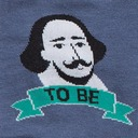 fabric detail of To Be, or Not to Be - Shakespeare Thespian Crew Socks Grey - Men's