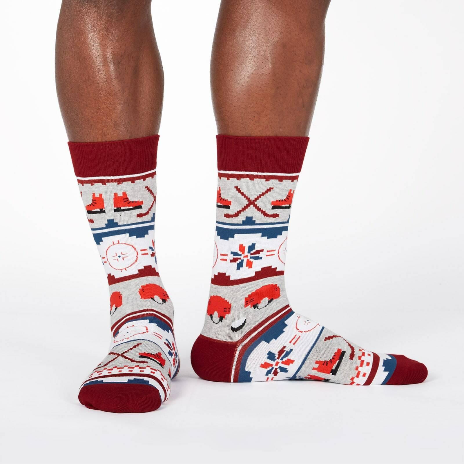 model wearing Ugly Hockey Sweater - Fair Isle Pattern Hockey Sport Crew Socks Heather Grey - Men's
