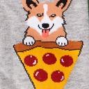 fabric detail of Man's Best Food - Corgi and Pizza Crew Socks Heather Grey - Men's