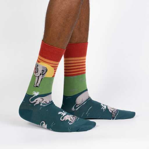 Make A Splash - Elephant Jungle Animal Crew Socks - Men's in Turquoise