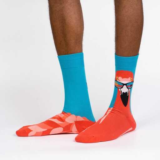 Ready to Flamingle - Flamingo Fun Animal Crew Socks - Men's in Blue
