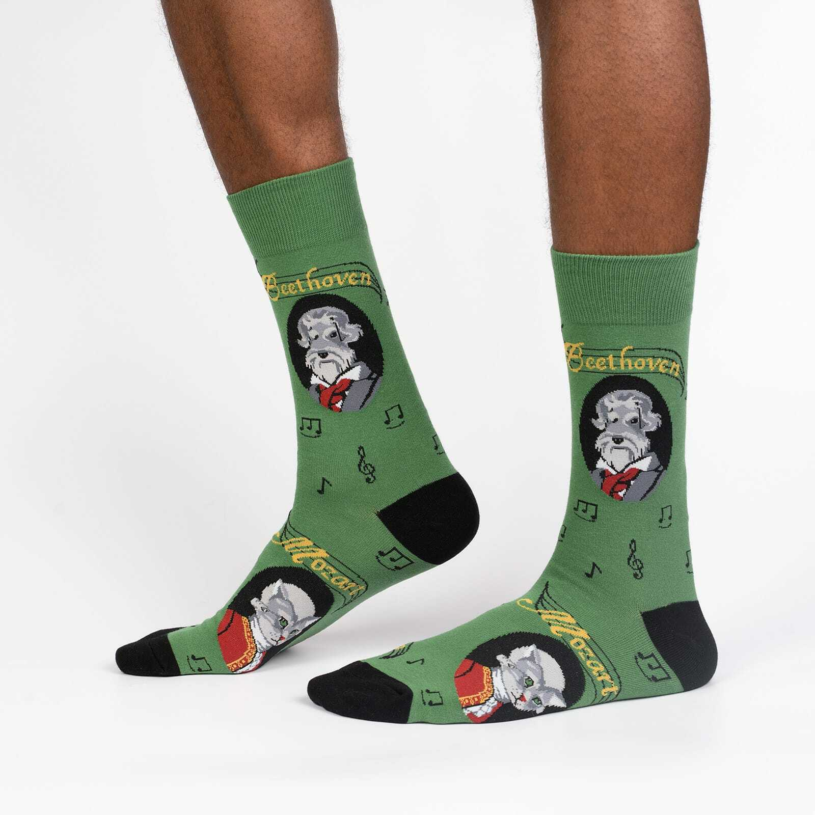 A Tail Of Two Composers - Mozart Beethoven Musician Crew Socks Green - Men's in Green