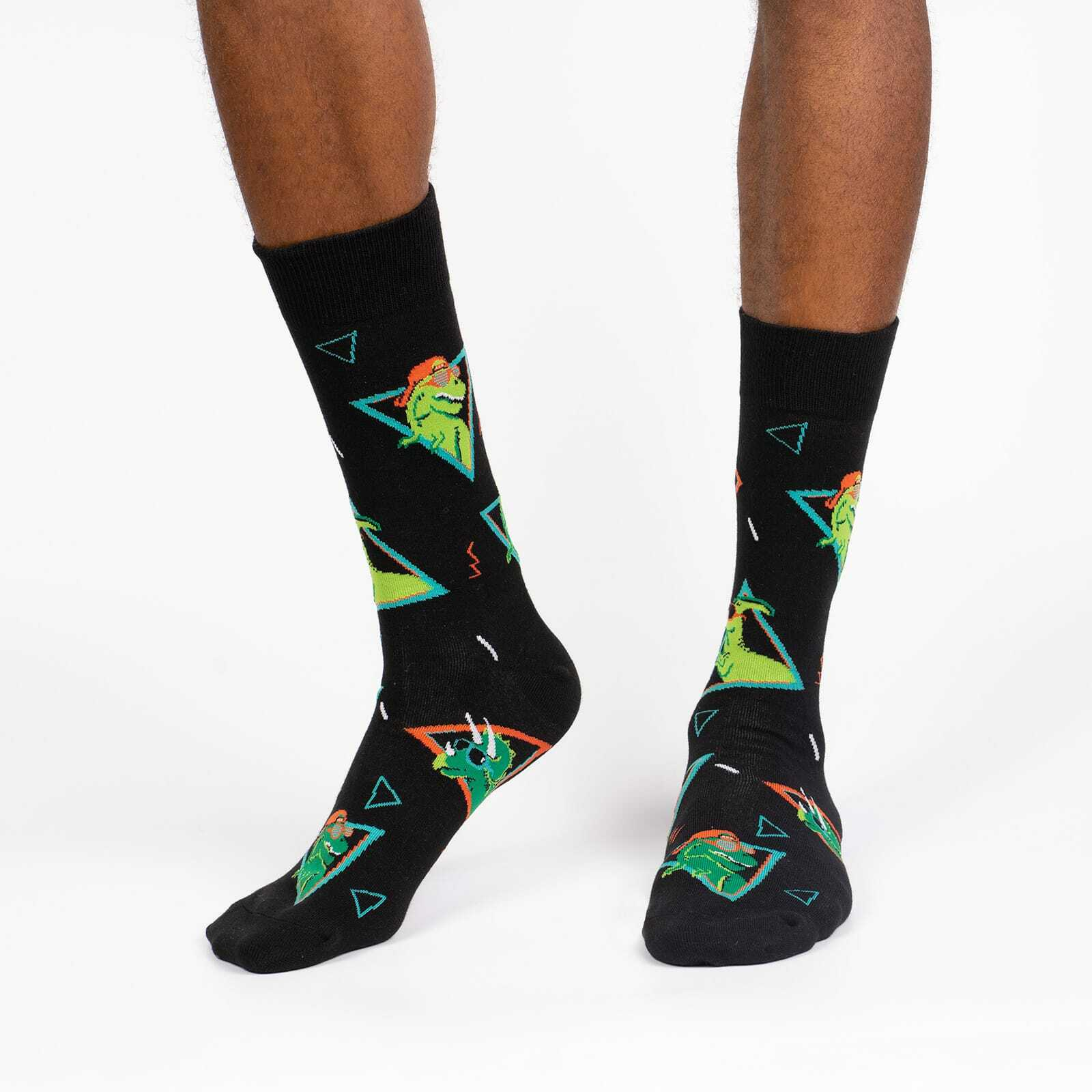 Jurassic Party - Dinosaur Fun Retro Crew Socks Black - Men's in Black