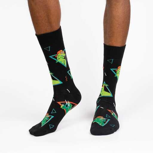 Jurassic Party - Dinosaur Fun Retro Crew Socks Black - Men's in Black