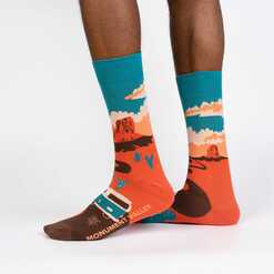Monument Valley - Road Trip Travel Crew Socks Orange - Men's in Orange
