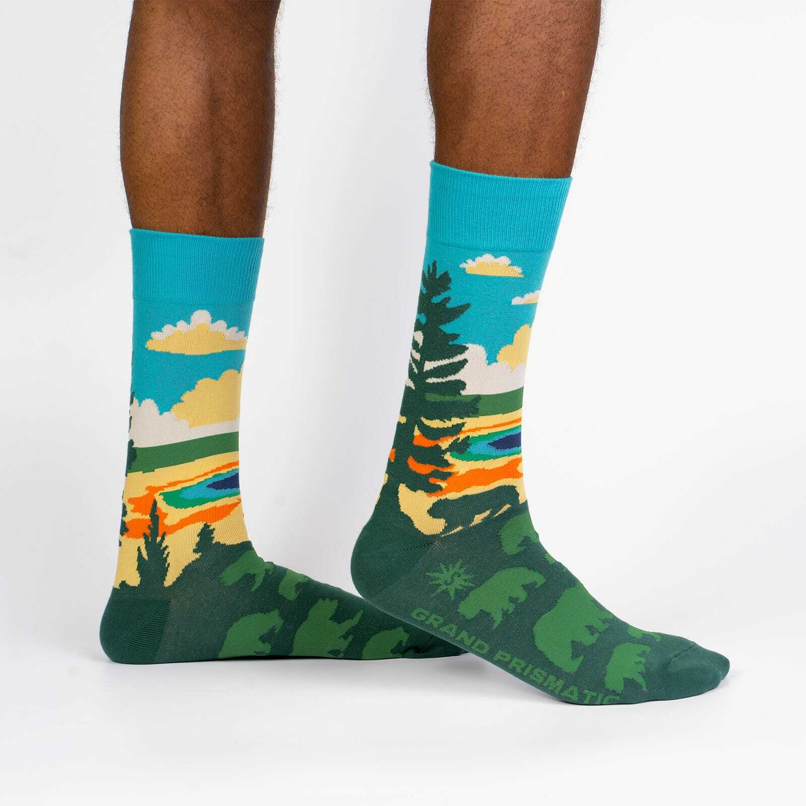 Grand Prismatic - Road Trip Travel Crew Socks Green - Men's in Green