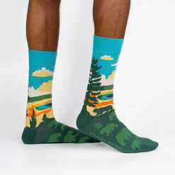 Grand Prismatic - Road Trip Travel Crew Socks Green - Men's in Green
