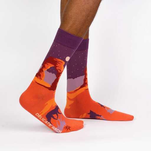 Delicate Arch - Road Trip Travel Crew Socks Orange - Men's in Orange