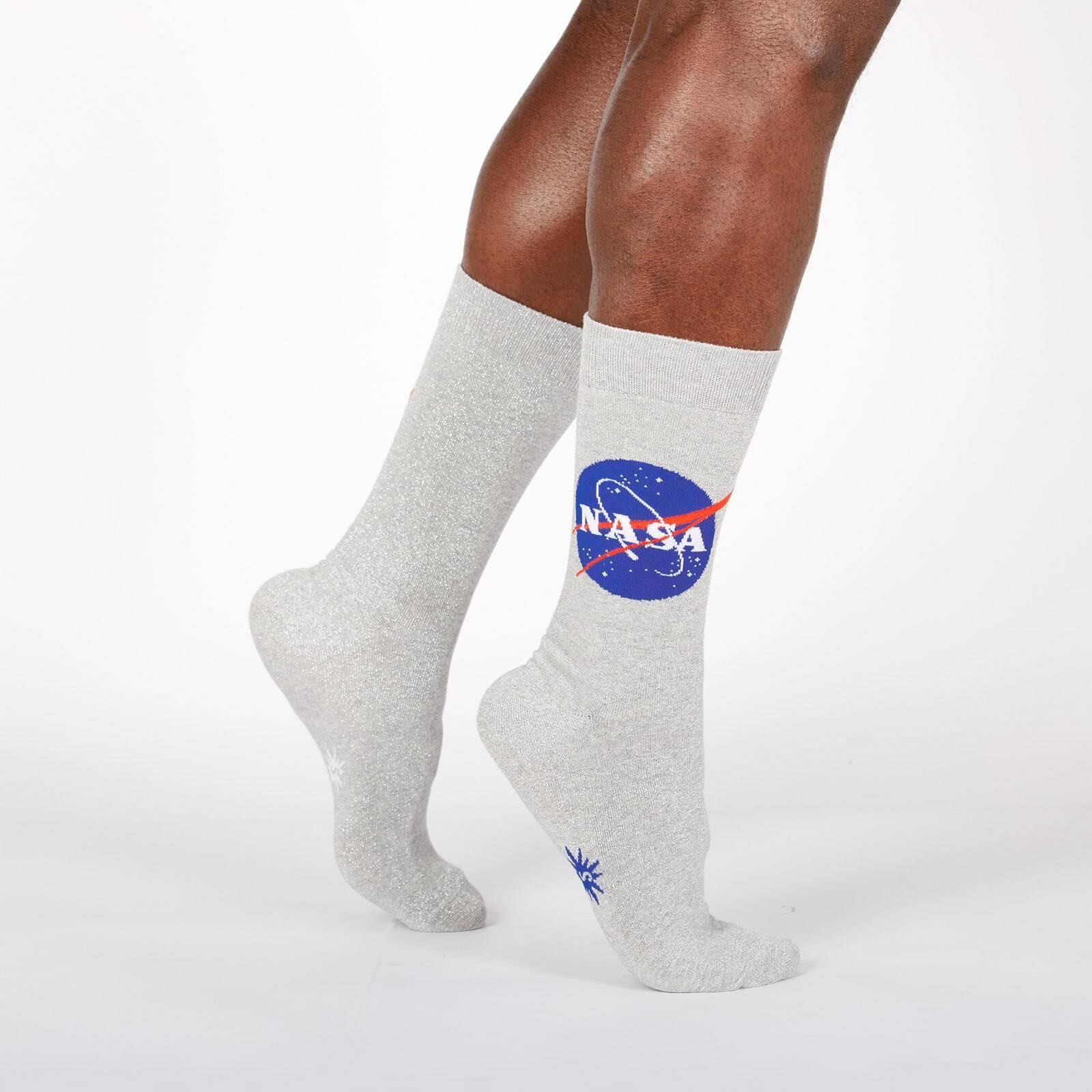 model wearing Titanium - 50th Anniversary Moon Landing NASA Metallic Thread Shimmer Crew Socks Grey - Men's