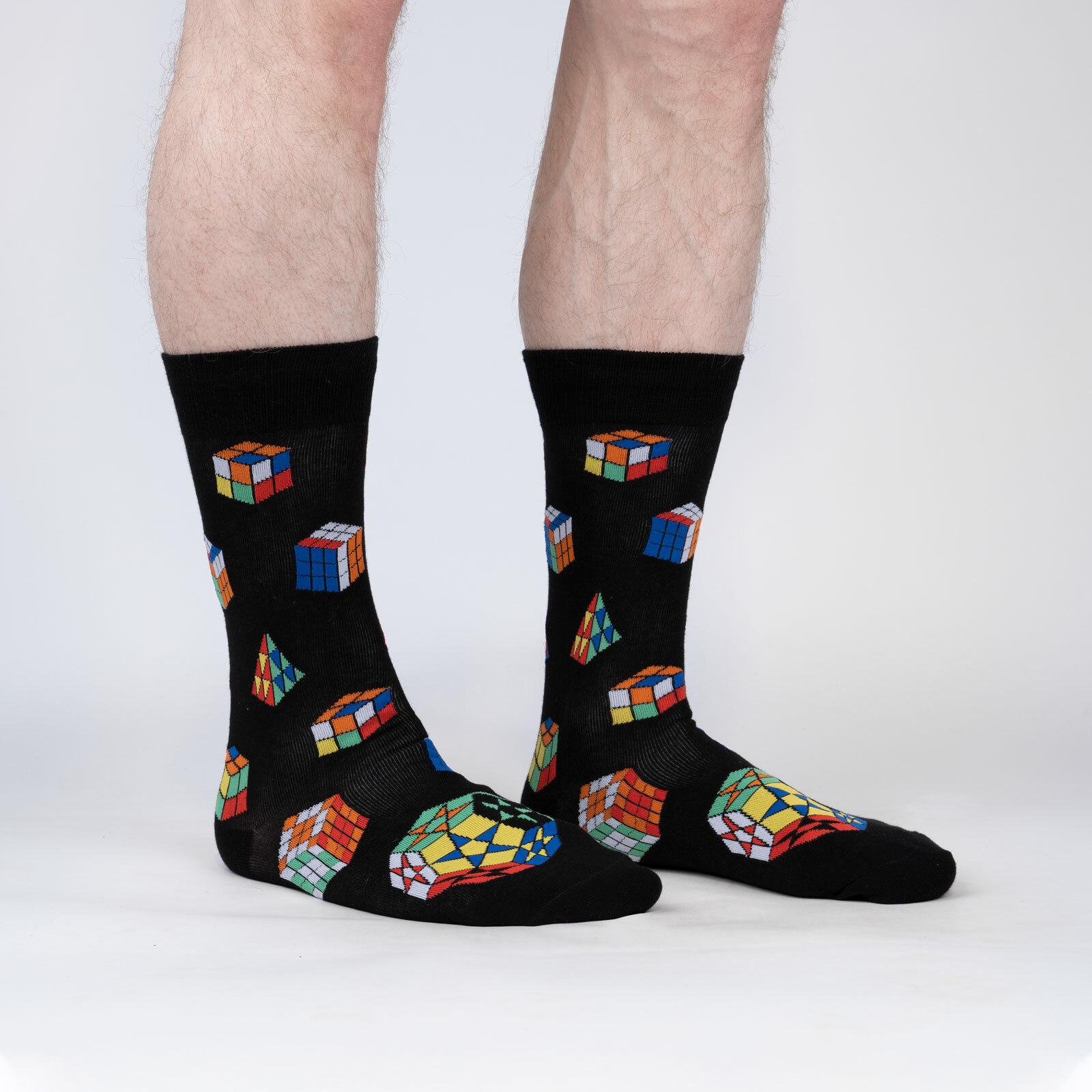 model wearing Puzzle Box Socks - Game Lover Crew Socks Black - Men's