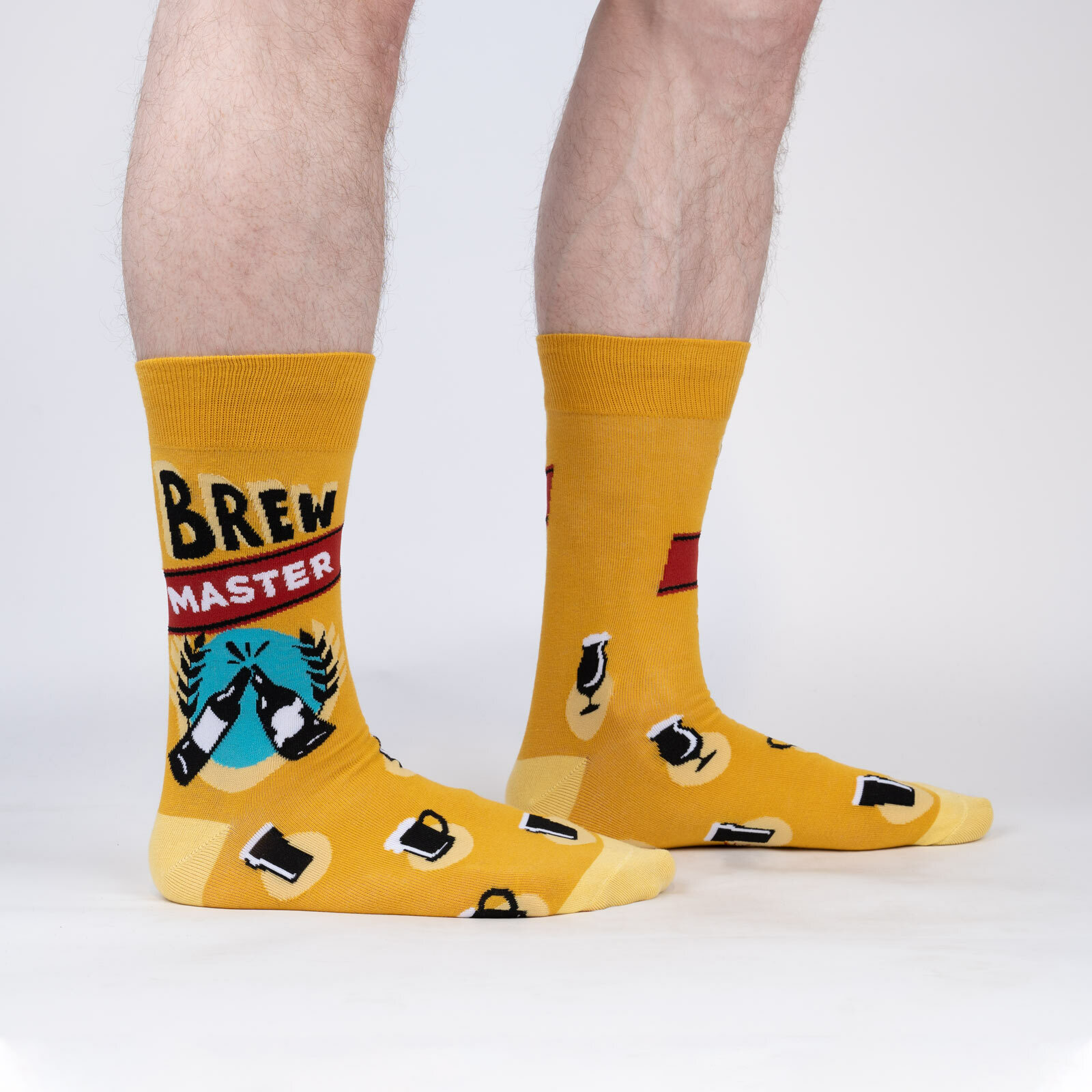 model wearing Brew Master - Beer Lover Crew Socks Yellow - Men's