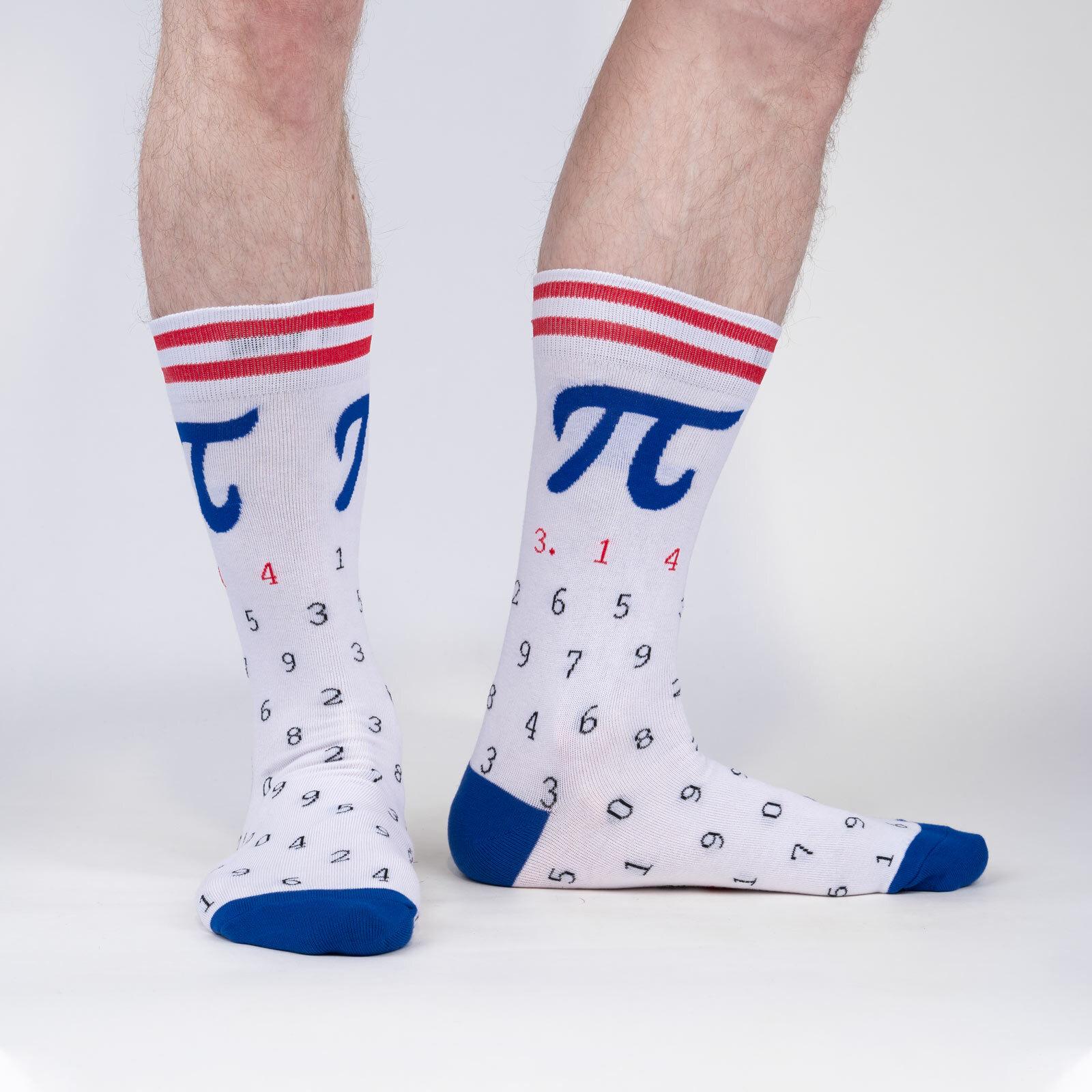 model wearing American Pi - Collegiate Math Crew Socks White - Men's