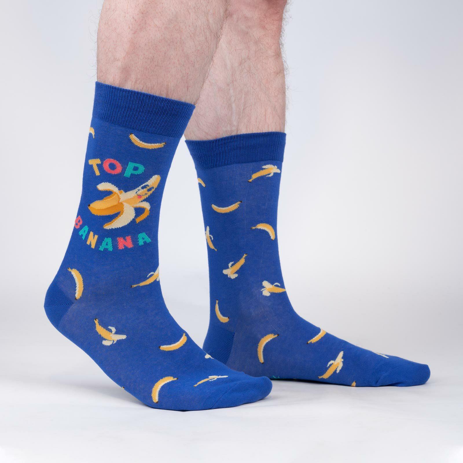 model wearing Top Banana - Funny Banana Crew Socks Blue - Men's