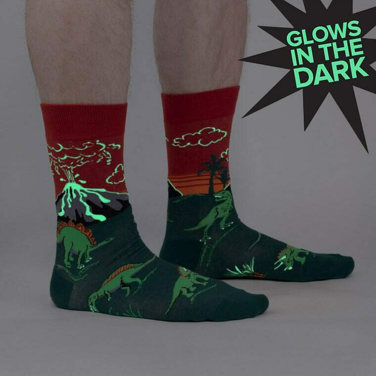model wearing Dinosaur Days  - Jurassic Volcano Crew Socks Red - Men's