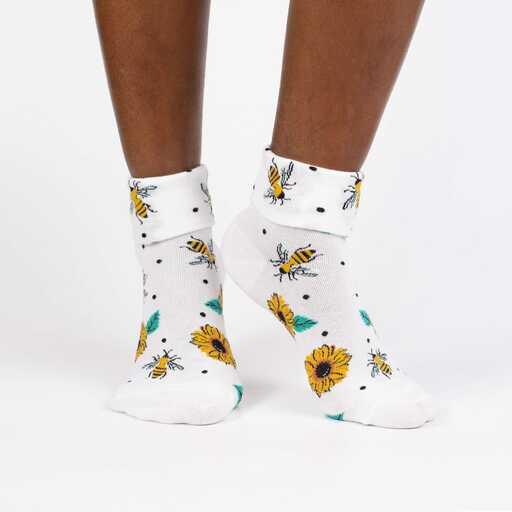 Yas Queen - Funny Girl Power Turn Cuff Socks White - Women's in White