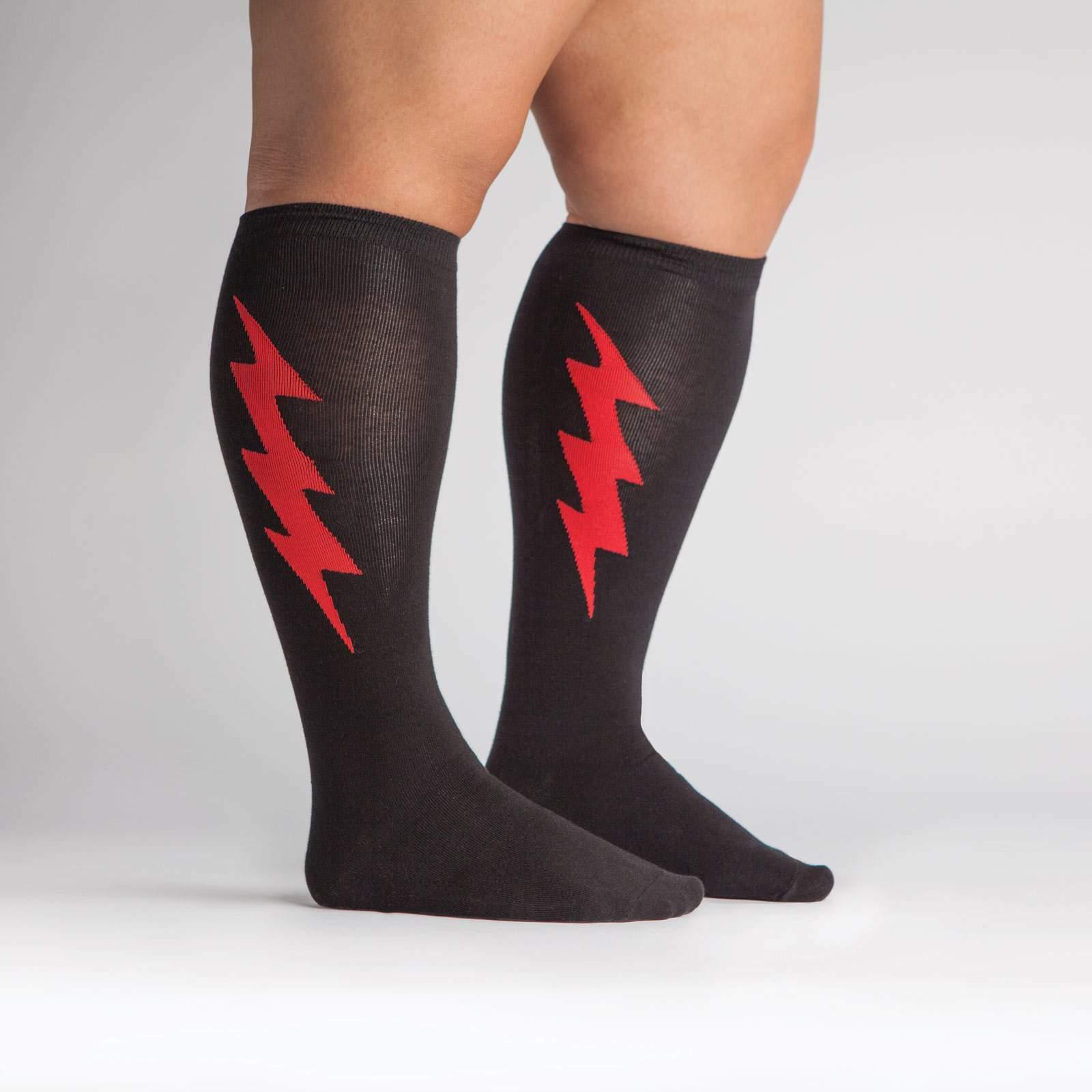 model side view of Super Hero! Red and Black - Wide Calf - Super Hero Knee High Socks - Unisex