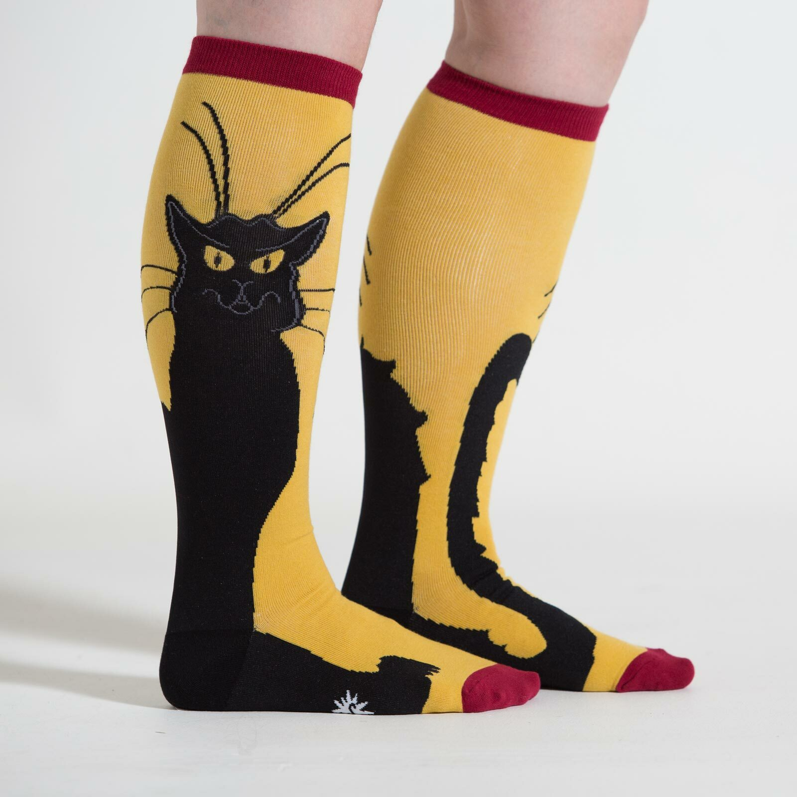 model side view of Chat Noir - Wide Calf - Cat Knee High Socks Yellow - Unisex