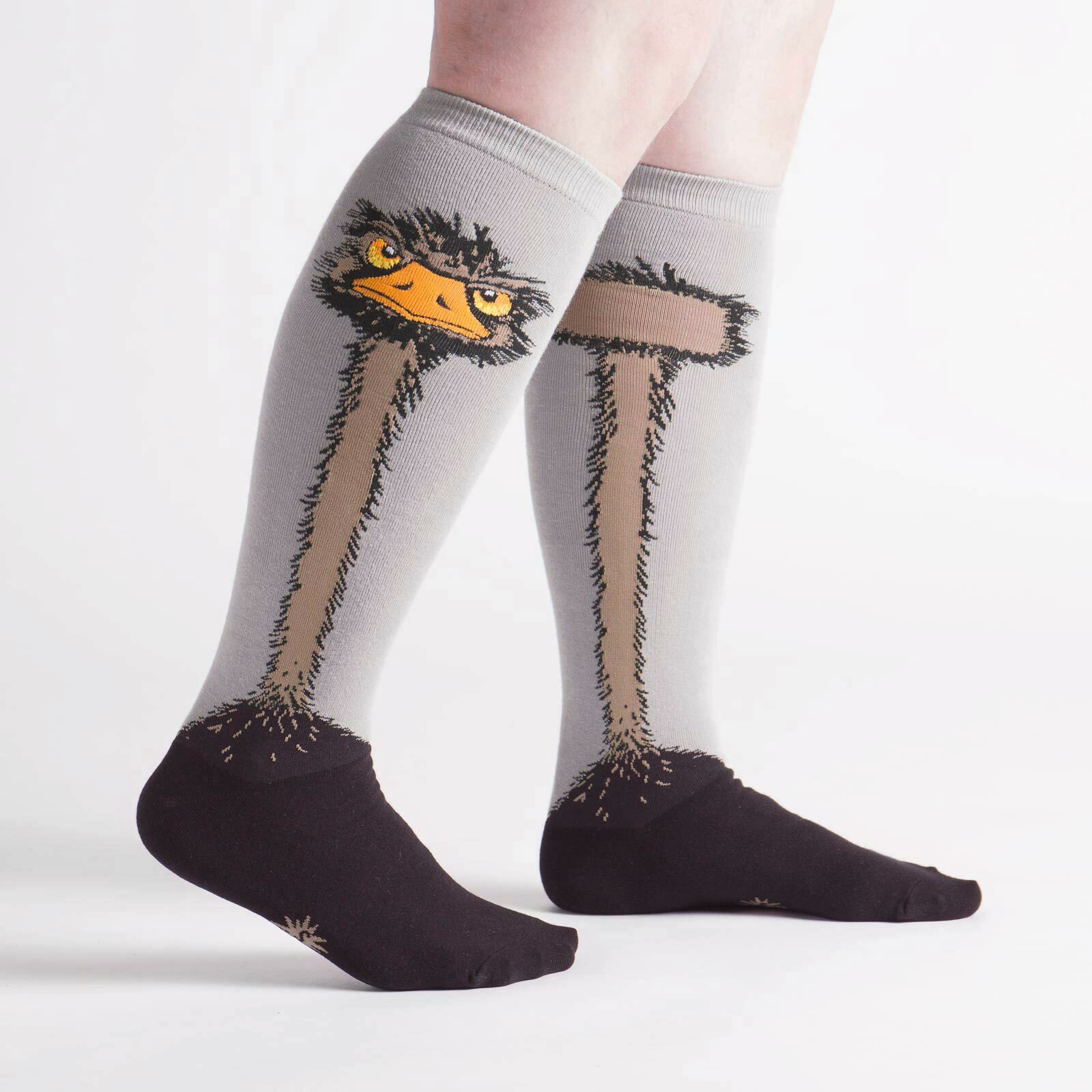 model side view of Ostrich - Wide Calf - Ostrich Knee High Socks Grey - Unisex