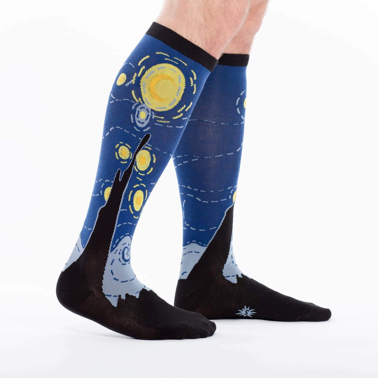 model side view of Starry Night Socks - Wide Calf - Van Gogh Knee High Socks Blue - Unisex