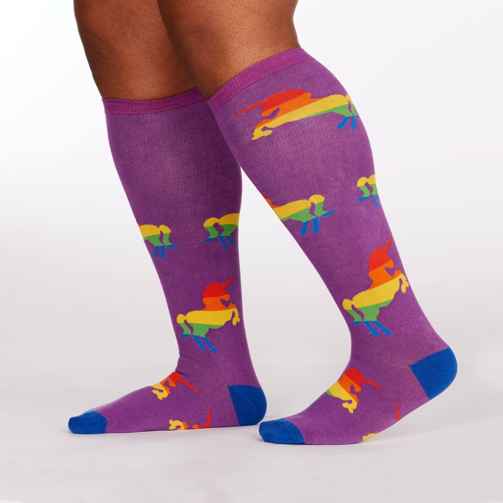model side view of Pride & Fabulous - Wide Calf - Unicorn Knee High Socks Black - Unisex