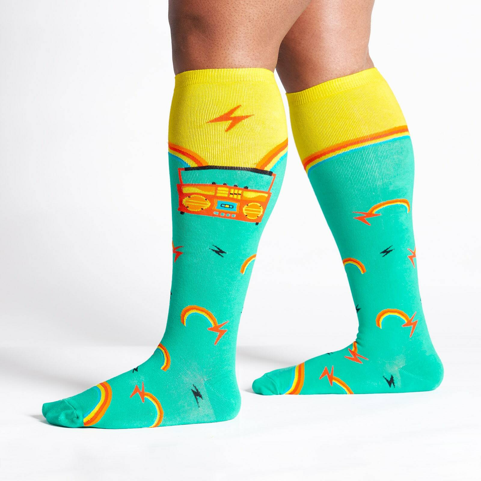 model wearing Roller Disco - Wide Calf - Boombox Knee High Socks Yellow - Unisex