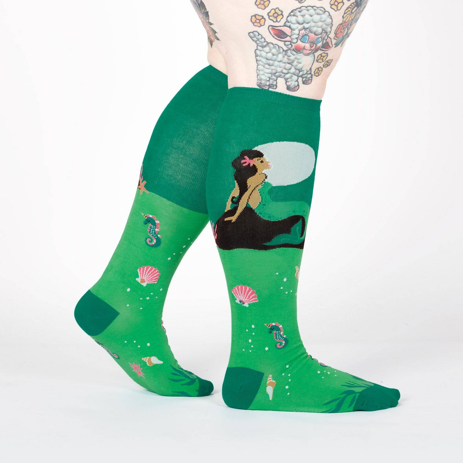 model wearing STRETCH-IT™ Moonlight Mermaid - Wide Calf - Mermaid Moonbathing Over Water Knee High Socks Green - Unisex