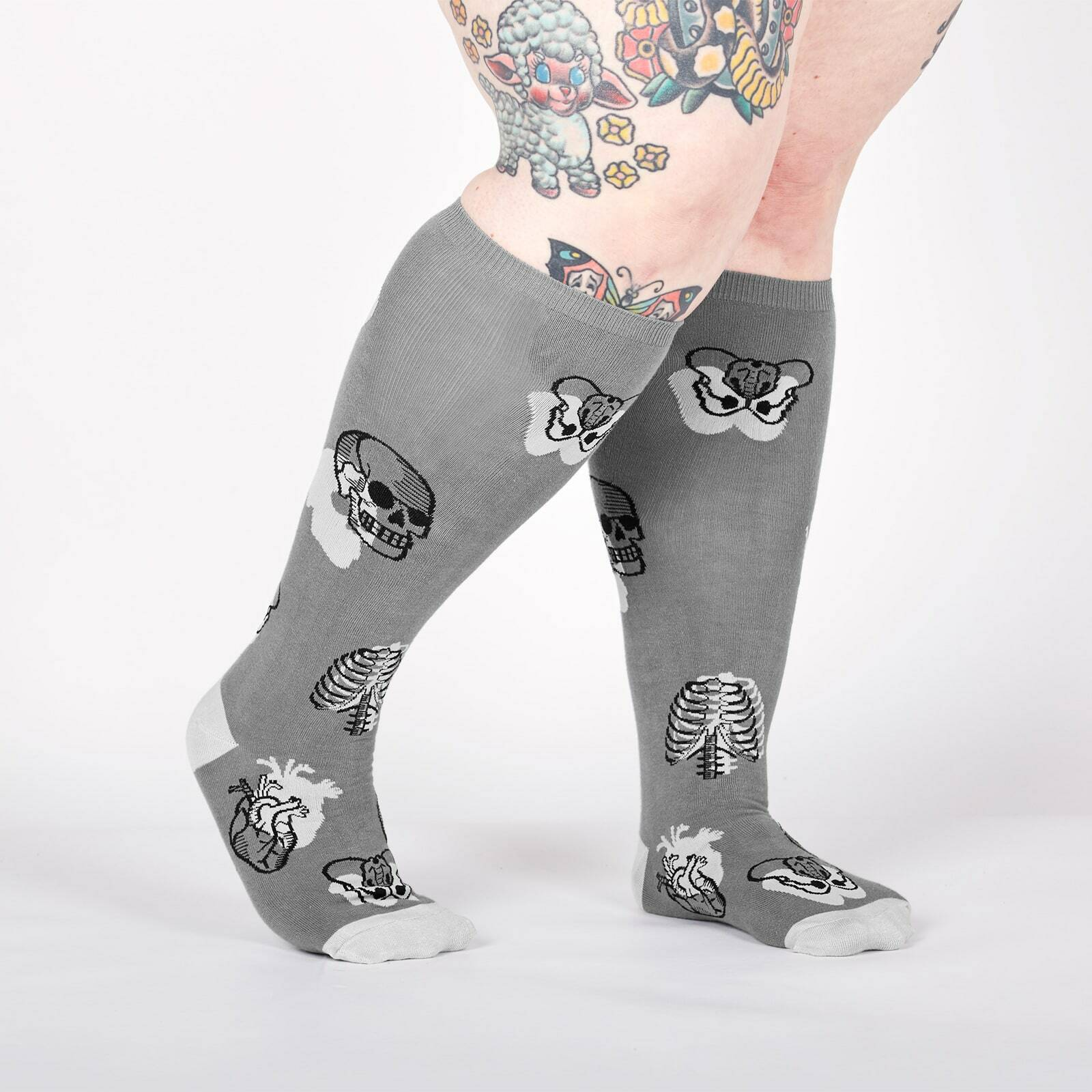 model wearing STRETCH-IT™ Head Over Heel - Wide Calf - Human Anatomy Knee High Socks Grey - Unisex