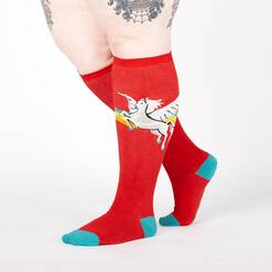 model wearing STRETCH-IT™ Retro Pegasus - Wide Calf - Winged Horse Classic Striped Knee High Socks Red - Unisex