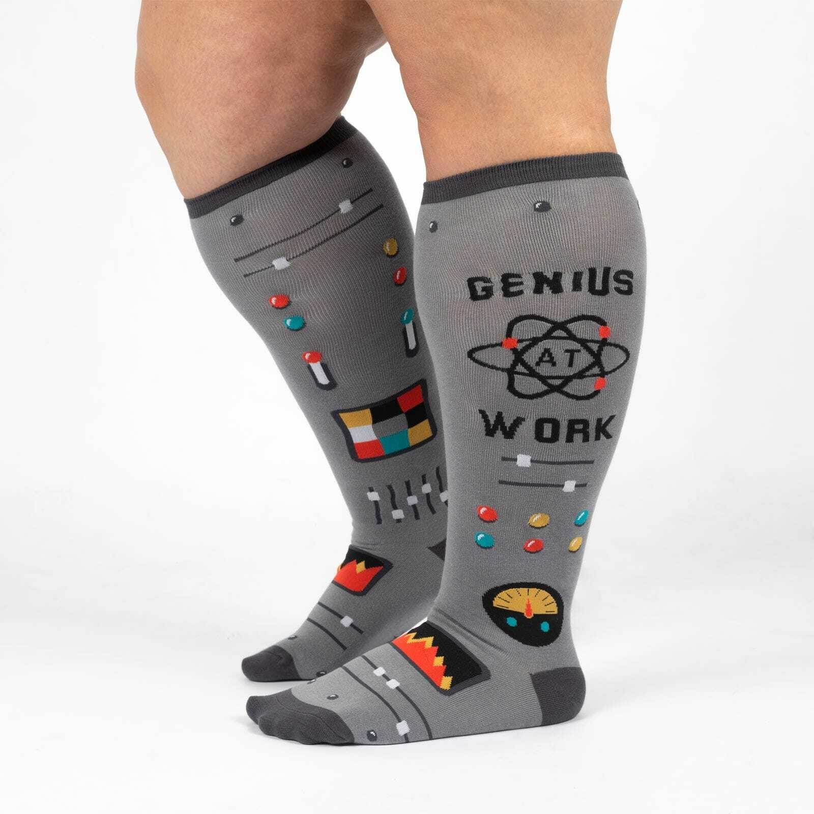 Genius At Work - Science Math Wide Calf Socks Grey - Unisex in Grey