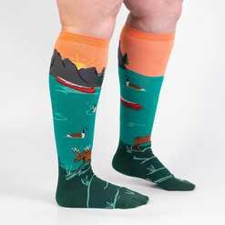 Very Amoose'ing - Nature Animal Wildlife Wide Calf Socks Turquoise - Unisex in Turquoise