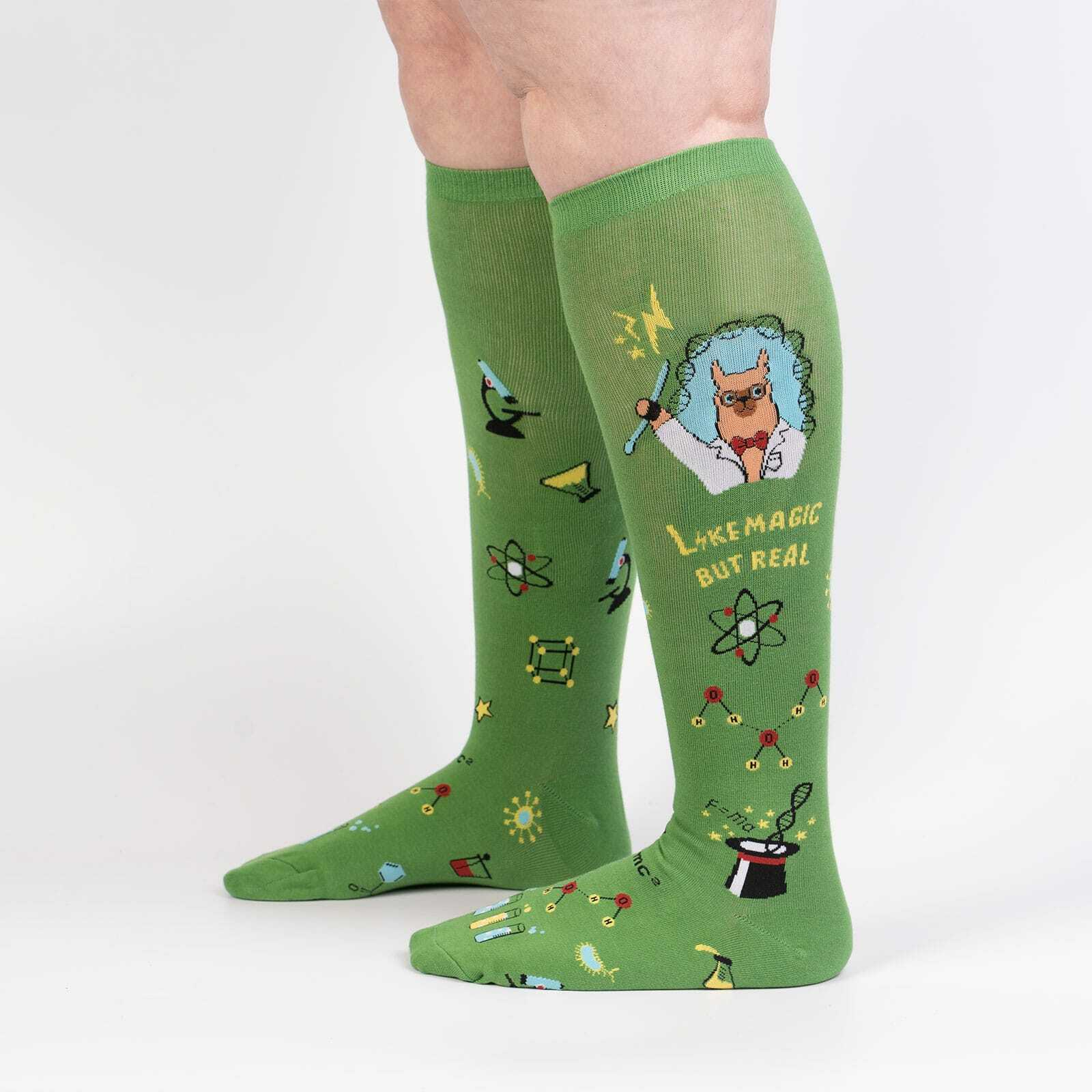 Trust Me, Llama Scientist - Funny LLama Science Wide Calf Socks Green - Unisex in Green