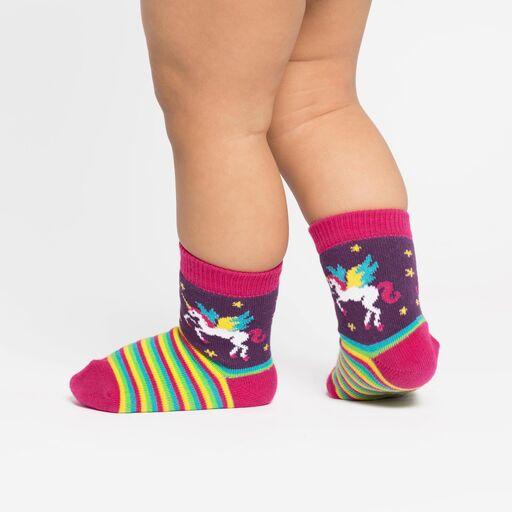 model side view of Winging It - Unicorn Crew Socks Purple - Toddler