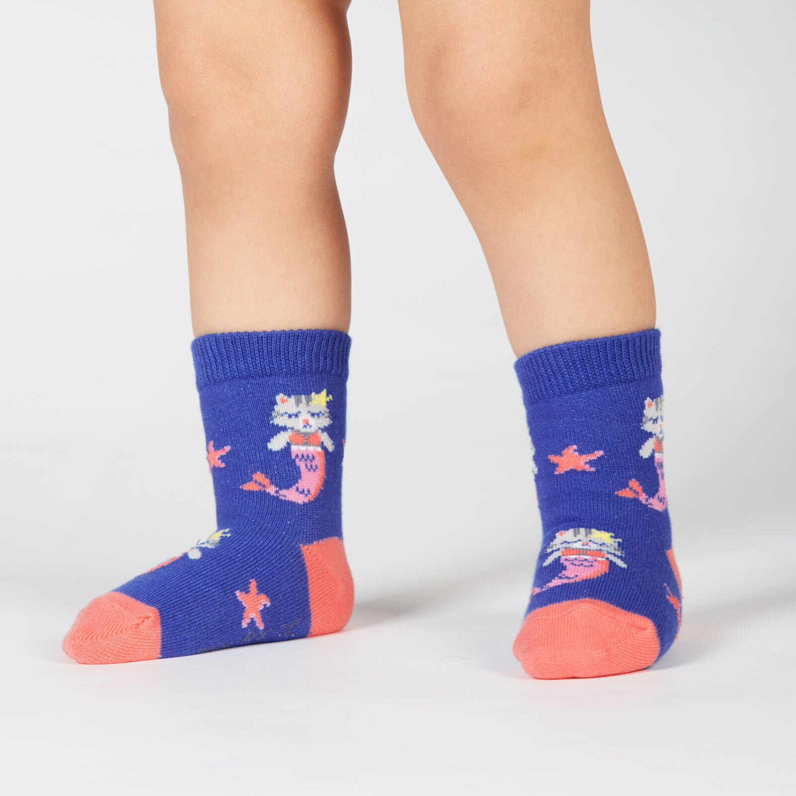 model wearing Purrmaid - Mermaid Cat Crew Socks Turquoise - Toddler