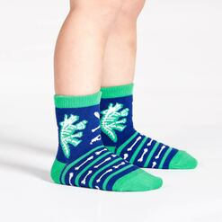 model wearing Arch-eology - Dinosaur Crew Socks Blue - Toddler