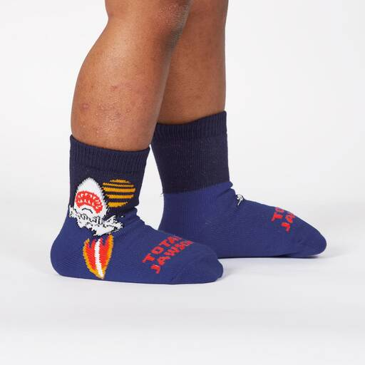 model wearing Totally Jawsome! - Great White Shark Crew Socks Blue - Toddler
