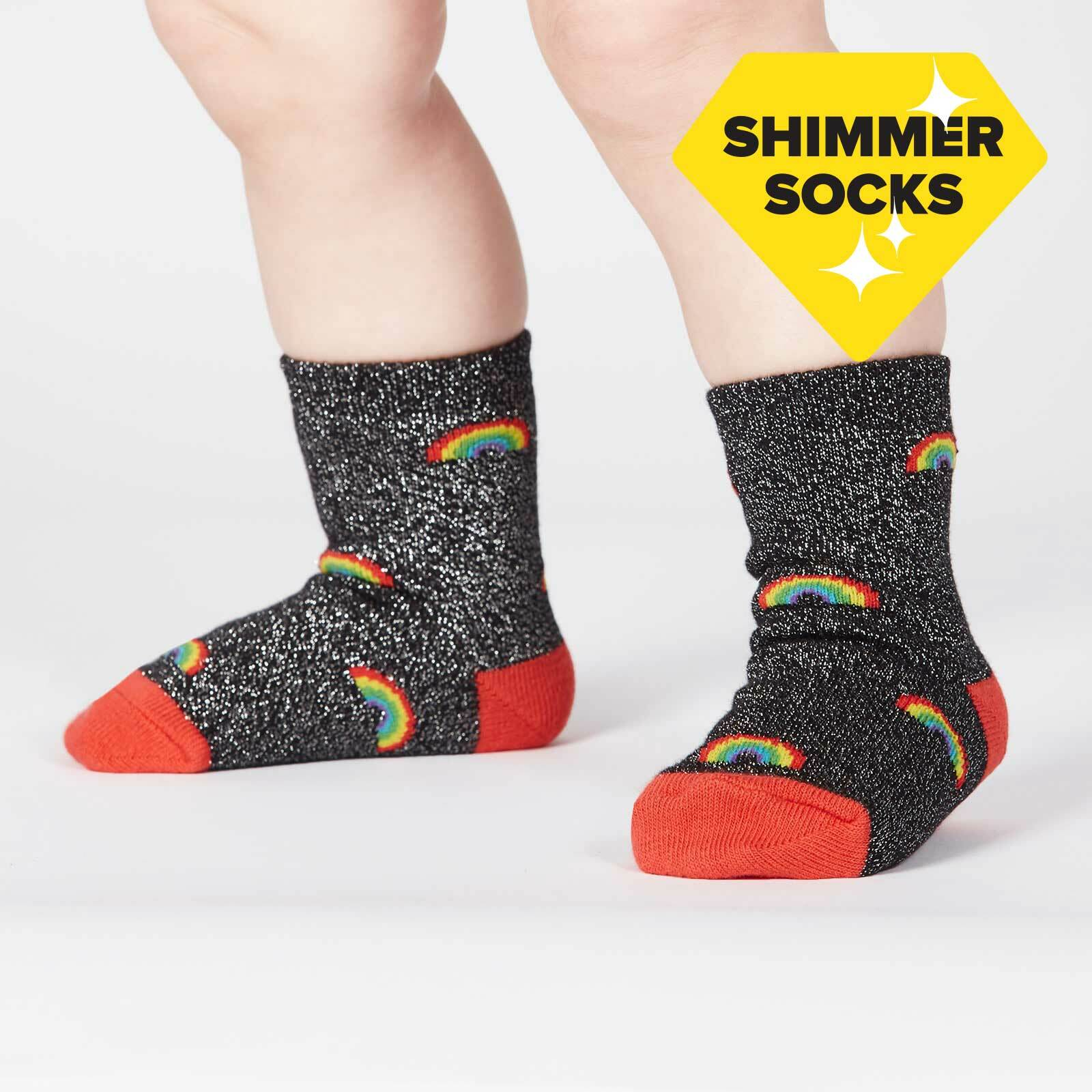 model wearing Glitter over the Rainbow - Sparkling Shimmer Rainbow Beam Crew Socks Black - Toddler