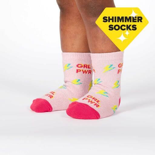 model wearing United We Shine - Sparkling Shimmer Girl Power Lightning Crew Socks Pink - Toddler