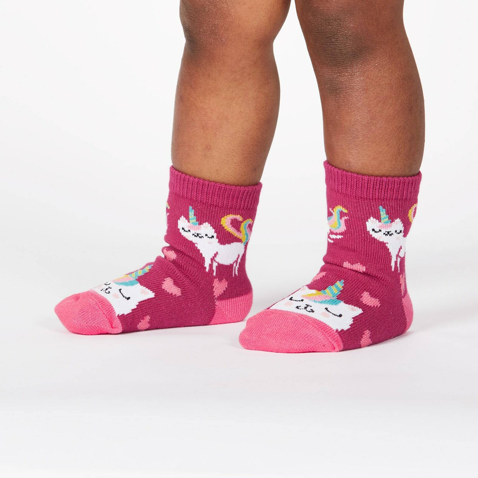 model wearing Look at Me Meow - Colorful and Cute Unicorn Kitty Crew Socks Pink - Toddler