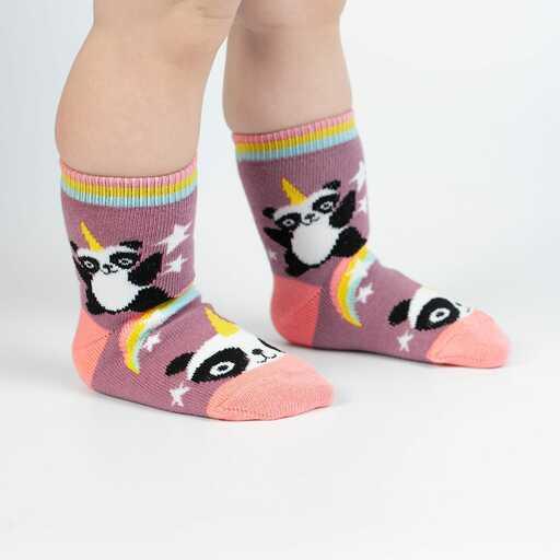 Pandacorn - Fun Mythical Panda Unicorn Crew Socks Pink - Toddler in Pink