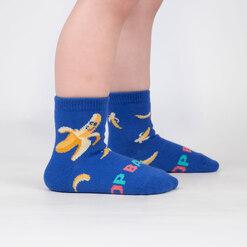 model wearing Top Banana - Funny Banana Crew Socks Blue - Toddler
