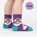model wearing Sloth Dreams - Fuzzy Happy Rainbow Sloth Crew Socks Purple - Toddler