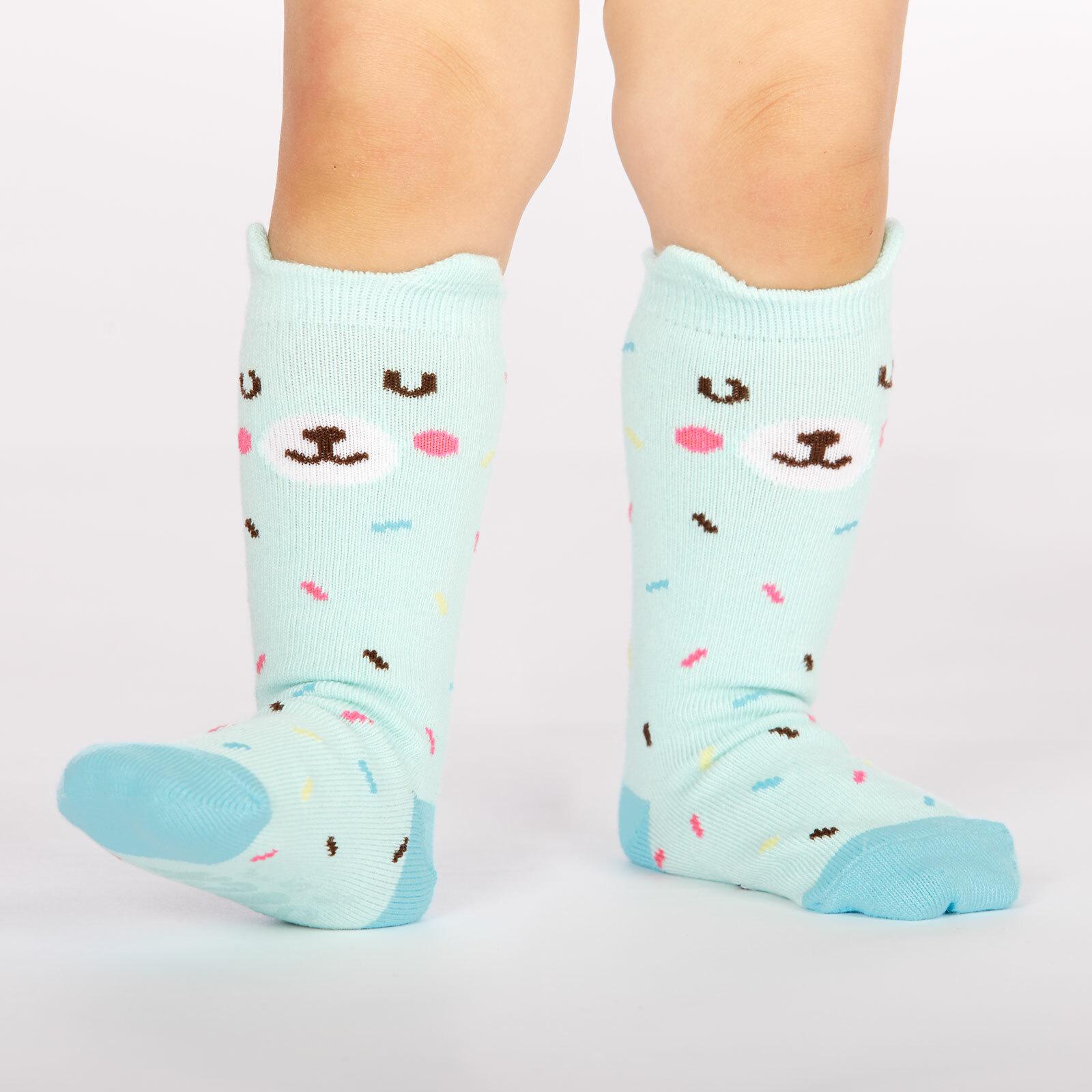 model wearing Bearly Sprinkled - Pop Up Ears - Bear Crew Socks Blue - Toddler