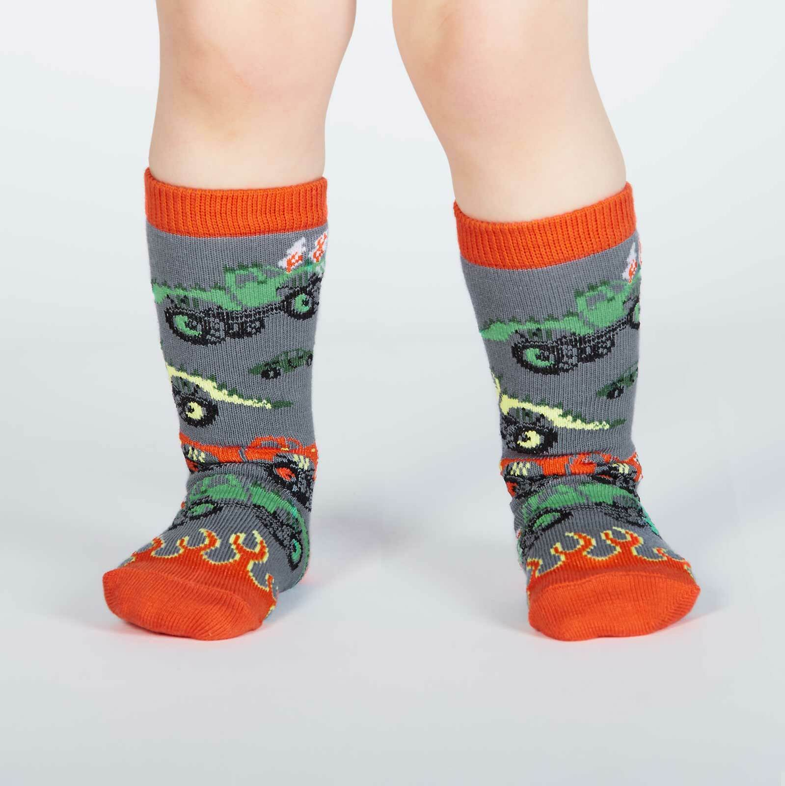 model wearing Monster Trucks Knee High Socks Grey and Orange - Toddler's