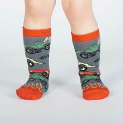 model wearing Monster Trucks Knee High Socks Grey and Orange - Toddler's