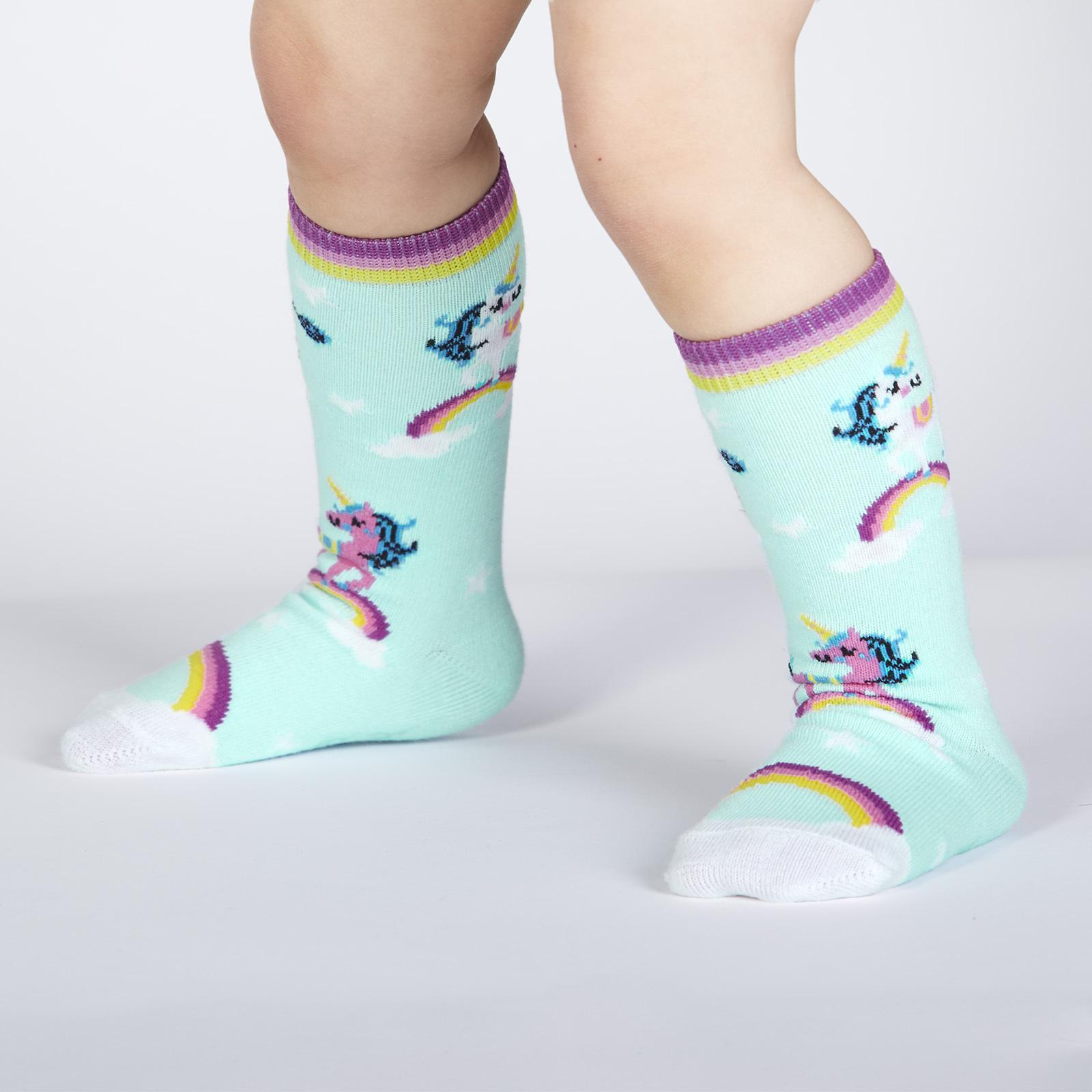 model wearing Keep Dreamin' - Unicorn Dreams Knee High Socks - Toddler's