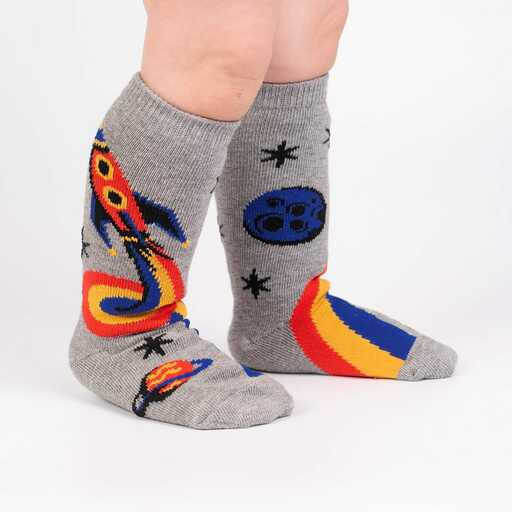 A Trip To The Moon - Rocket Ship Outer Space Knee Socks Grey - Toddler in Grey