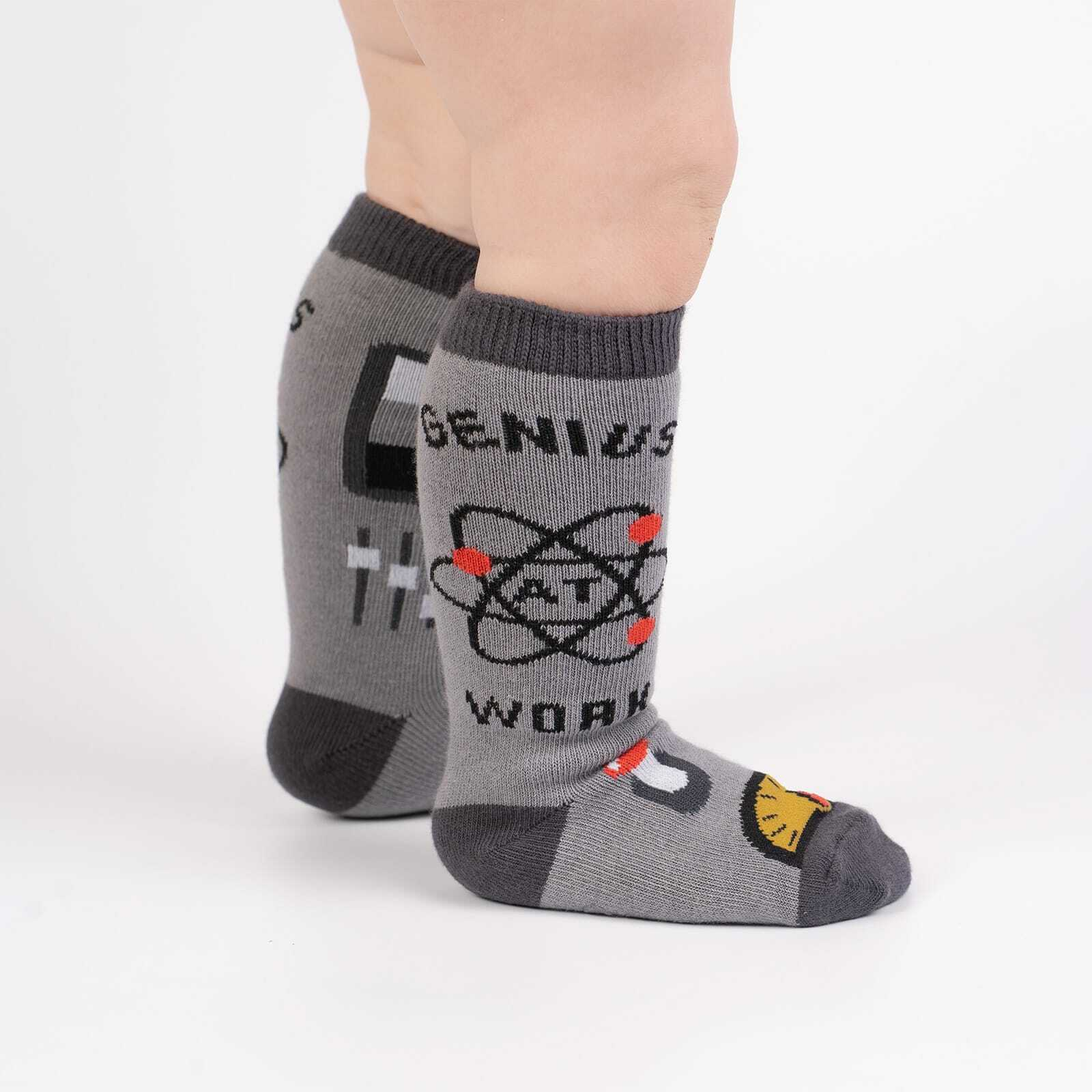 Genius At Work - Science Math Knee Socks Grey - Toddler in Grey