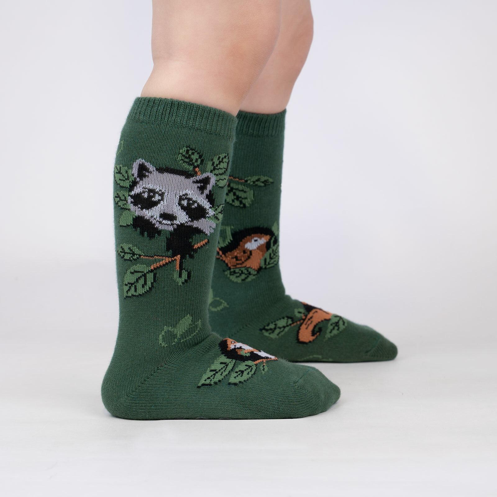 model wearing Woodland Watchers - Adorable Nature Animals Knee High Socks Green - Toddler