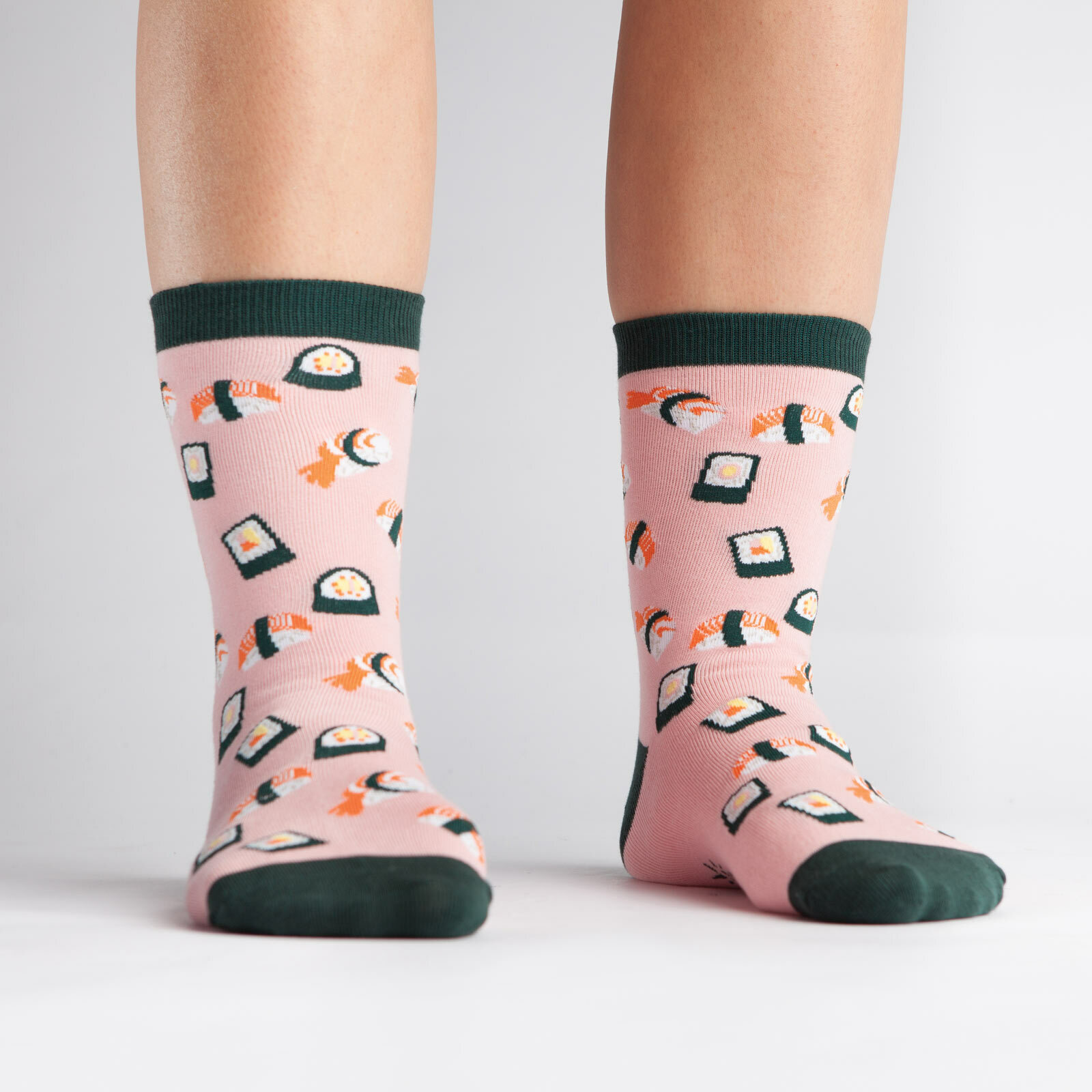 model wearing Sushi Crew Socks Pink and Black - Women's